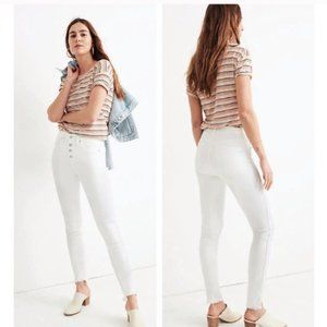 Madewell White High Rise Button Fly Skinny Jeans